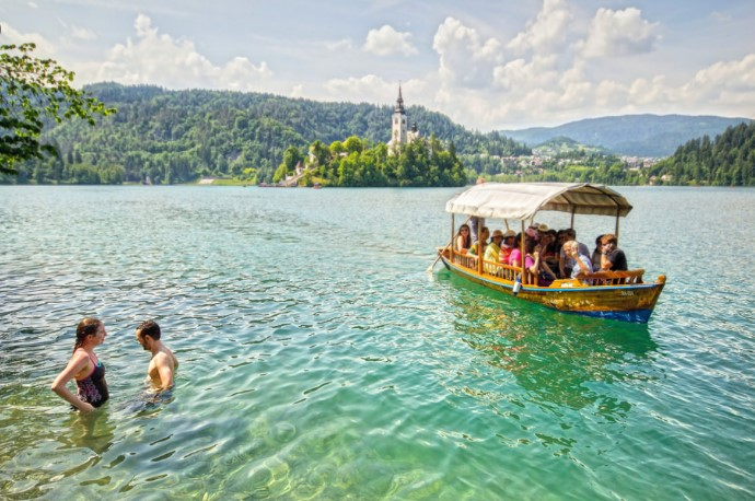 Swimming in the Lake Bled