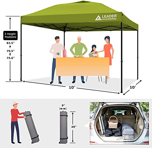 Leader Accessories 10'x10′ Instant Canopy Pop Up Canopy