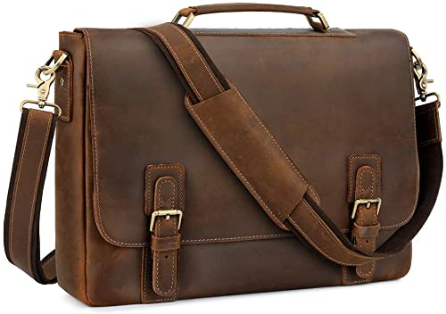 Kattee Leather Briefcase for Traveling