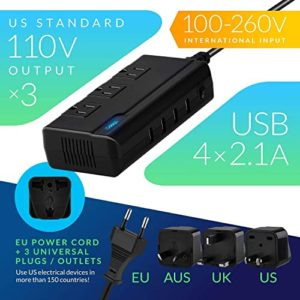 Odoga Step Down Travel Voltage Converter with 4 x USB Ports and 3 AC Outlets