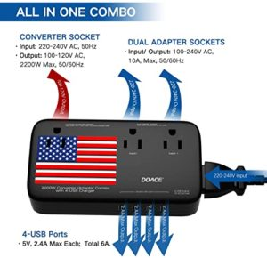DoAce X11 travel Voltage Converter with Wall Battery Charges