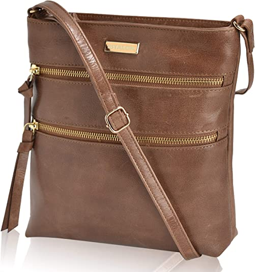 Leather Crossbody Over the Shoulder Sling Purse for Women