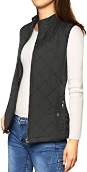Allegra K Stand Collared Lightweight Quilted Zipped Vest for Women